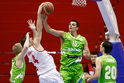 Jure Balazic of Slovenia basketball national team in action against Peter Lorant of Hungary during Trofej Beograd tournament third place match at Pionir arena  in Belgrade, Serbia on August 9th 2012.Foto: Marko Metlas / MN Press / Sportida.com