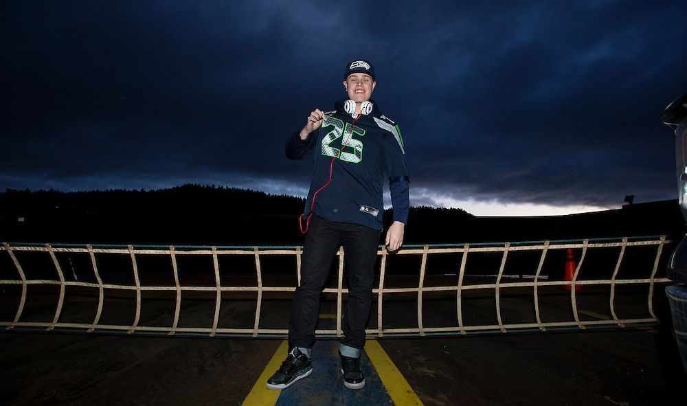 Jake Bosence from Sidney B.C. rides a B.C. Ferry from Swartz Bay to Tsawwassen on his way to watch the Seattle Seahawks play the St. Louis Rams at CenturyLink Field on December 28, 2014 in Seattle, Washington. The Seahawks defeated the Rams 20-6. ©KevinLight/Saanich News