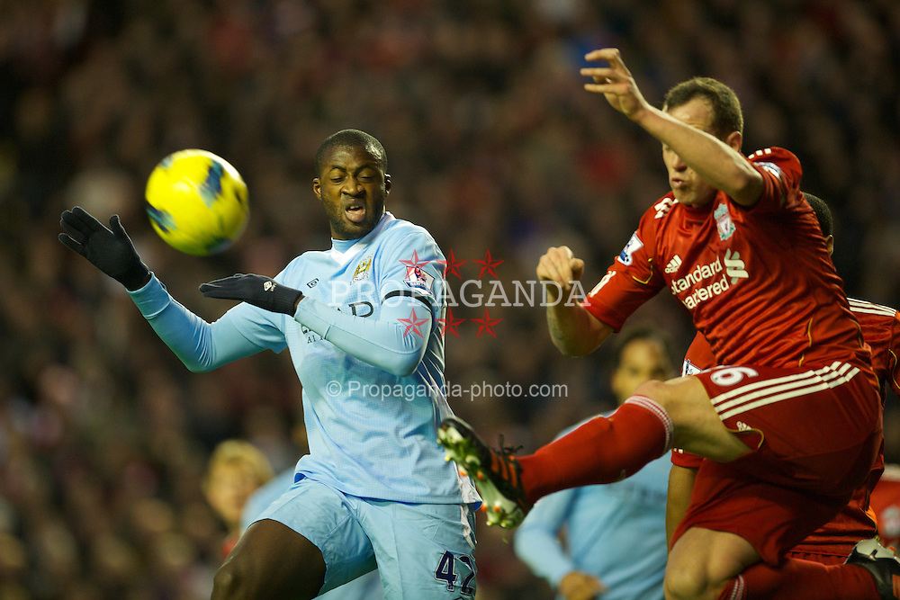 LIVERPOOL, ENGLAND - Sunday, November 27, 2011: Manchester City's Yaya Toure in action against Liverpool during the Premiership match at Anfield. (Pic by David Rawcliffe/Propaganda)