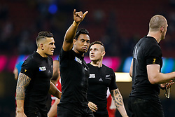Winger Julian Savea signals the fans after scoring 3 tries to help New Zealand win the match - Mandatory byline: Rogan Thomson/JMP - 07966 386802 - 02/10/2015 - RUGBY UNION - Millennium Stadium - Cardiff, Wales - New Zealand v Georgia - Rugby World Cup 2015 Pool C.