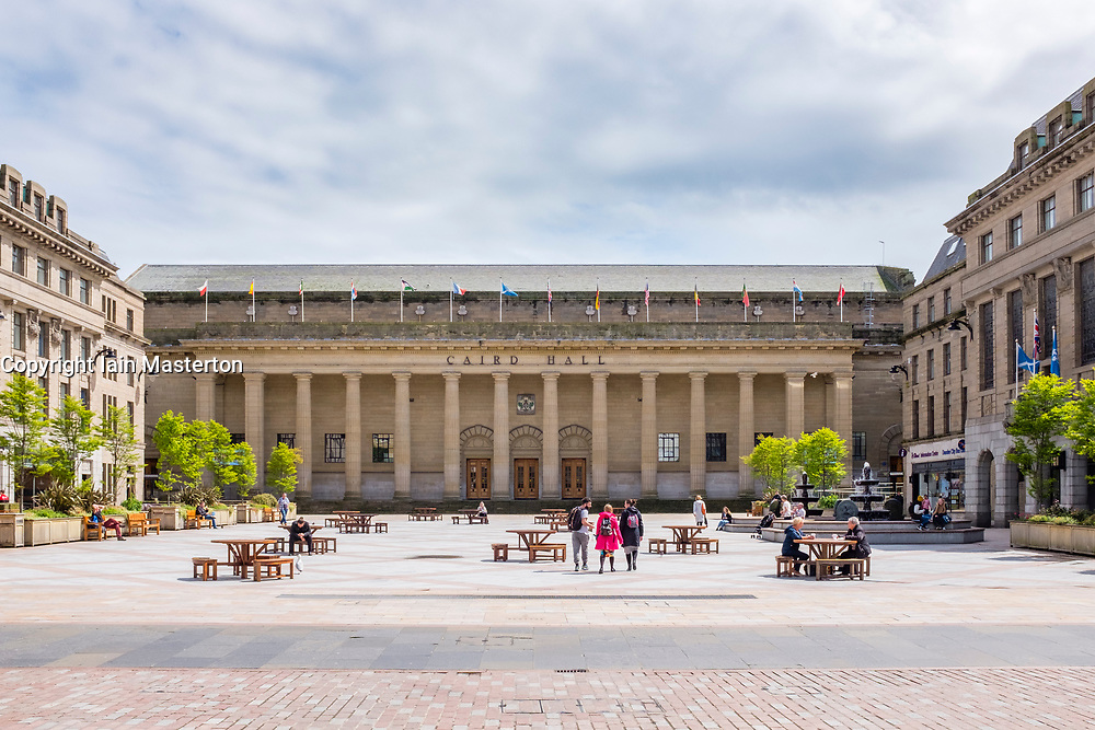 Exterior view of Caird Hall in Dundee, Scotland, United kingdom