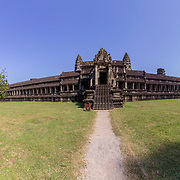 Angkor Wat ancient temple complex , outer gallery panorama,  one of the largest religious monuments in the world and UNESCO World Heritage Site, it's a famous tourist attraction in Siem Reap, Cambodia.