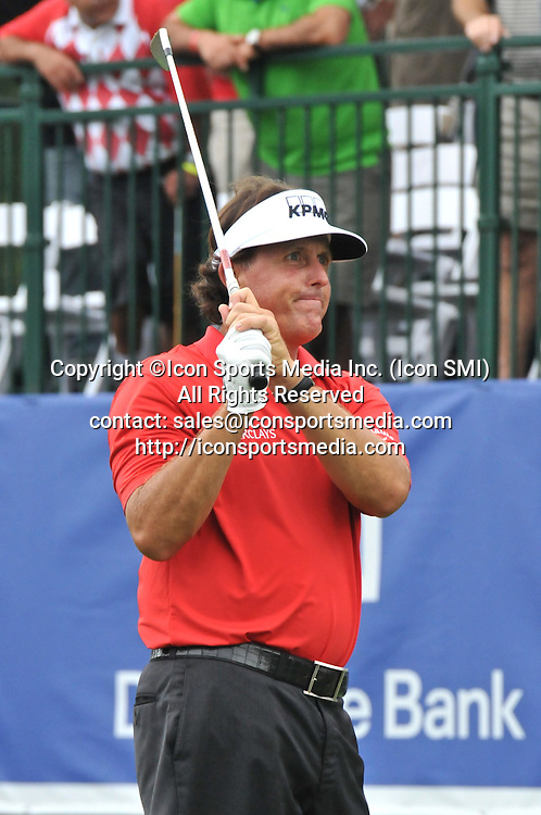 02 September 2013:Phil Mickelson watches hit tee shot on the 16th hole go into the water during the Final Round of the Deutsche Bank Championship at TPC Boston in Norton, MA***Editorial Use Only*****