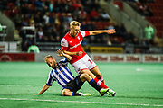 Rotherham United Jamie Lindsey is tackled by Sheffield Wednesday Jordan Rhodes during the EFL Cup match between Rotherham United and Sheffield Wednesday at the AESSEAL New York Stadium, Rotherham, England on 28 August 2019.