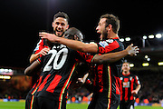 AFC Bournemouth forward Benik Afobe celebrated his goal with AFC Bournemouth defender Steve Cook which made the score 2-0 during the Barclays Premier League match between Bournemouth and Southampton at the Goldsands Stadium, Bournemouth, England on 1 March 2016. Photo by Graham Hunt.