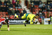 Swindon Town's Lawrence Vigouroux makes a save during the Sky Bet League 1 match between Swindon Town and Walsall at the County Ground, Swindon, England on 24 November 2015. Photo by Shane Healey.