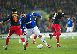 CARDIFF, WALES - Tuesday, February 1, 2011: Cardiff City's Jay Bothroyd is tripped by Reading's Mikele Leigertwood during the Football League Championship match at the Cardiff City Stadium. (Photo by Gareth Davies/Propaganda)