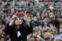"© Licensed to London News Pictures. 26/02/2017. London, UK. A member of the crowd takes a photo ahead of the special premiere free screening of the Oscar-nominated, Best Foreign Language Film, ""The Salesman"", in Trafalgar Square, hosted by Mayor of London, Sadiq Khan.  The film's Iranian director, Asghar Farhadi, decided to boycott tonight's main Oscars ceremony in Hollywood, in solidarity with those affected by President Donald Trump's travel ban on people from seven Muslim majority countries (including Iran) from entering the USA.   Photo credit : Stephen Chung/LNP"