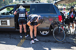 Macey Stewart (AUS) prepares for the race on Stage 2 of the Amgen Tour of California - a 108 km road race, starting and finishing in South Lake Tahoe on May 18, 2018, in California, United States. (Photo by Balint Hamvas/Velofocus.com)