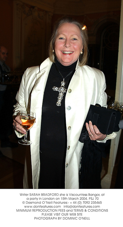 Writer SARAH BRADFORD she is Viscountess Bangor, at a party in London on 15th March 2004.PSJ 70