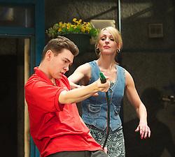 Jake Davies as Jamie. Suranne Jones as Sandra..Beautiful Thing by Jonathan Harvey, the Art's Theatre, London, Great Britain, April 16, 2013, April 22, 2013. Photo by: Elliott Franks / i-Images