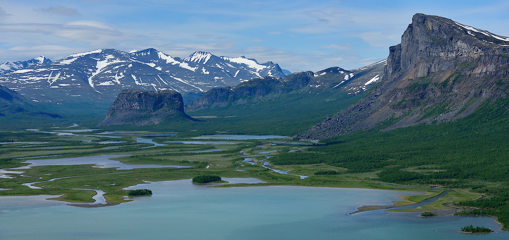 Nammatj hill on the left and Skierfe mountain on the right, the famous Rapa river delta, Sarek National Park, Laponia UNESCO World Heritage Site, Greater Laponia rewilding area, Lapland, Norrbotten, Sweden