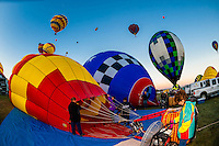 Hot air balloons being inflated, Albuquerque International Balloon Fiesta, Albuquerque, New Mexico USA.