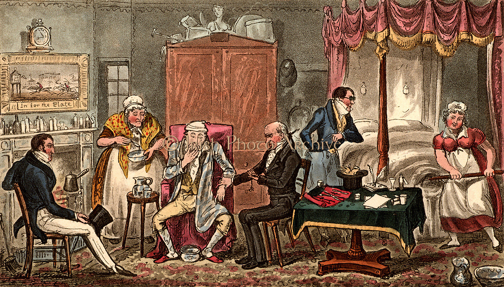 Jerry suffering the effects of overindulgence. Doctor takes his pulse. Maid heats four-poster bed with a warming pan. Landlady hovers attentively. Illustration by (Isaac) Robert Cruikshank and George Cruikshank Snr. From 'Life in London' by Pierce Egan (London, 1821). Aquatint.