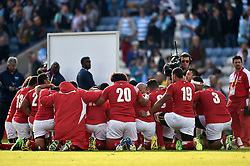 The Tonga team huddle together after the match - Mandatory byline: Patrick Khachfe/JMP - 07966 386802 - 04/10/2015 - RUGBY UNION - Leicester City Stadium - Leicester, England - Argentina v Tonga - Rugby World Cup 2015 Pool C.