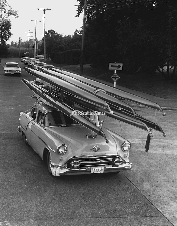 This wasn't a missile unit on the move. The Seattle Tennis Club rowing crew developed the method of hauling its shells. The crew was on its way to an international regatta on Okanagan Lake at Kelowna, British Columbia. Other clubs adopted the technique. (Josef Scaylea / The Seattle Times, 1963)