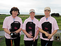 Sara Broderick, Olga Price  and  Siobhan Forde from Gort Golf Club  at the Galway Golf Club for the AIB Ladies Irish Open Club Challenge qualifier..Photo:Andrew Downes