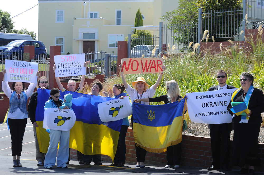 A small group of Ukranian supporters protest outside the Russian Embassy over the invasion of the Ukraine by the Russian Military, Wellington, New Zealand, Monday, March 03, 2014. Credit:SNPA / Ross Setford