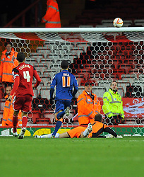 Bristol City Goalkeeper, Tom Heaton some how manages to tip Blackpool's Thomas Ince shot on to the bar - Photo mandatory by-line: Joe Meredith/JMP  - Tel: Mobile:07966 386802 17/11/2012 - Bristol City v Blackpool - SPORT - FOOTBALL - Championship -  Bristol  - Ashton Gate Stadium -