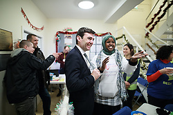 © Licensed to London News Pictures. 02/12/2016. Manchester, UK. Greater Manchester Mayoralty candidate ANDY BURNHAM MP visits the Barnabus homeless centre on Bloom Street in Manchester . Barnabus provides food and support for people who sleep rough . In the last week , two people in Manchester and one in Birmingham have died whilst sleeping rough . Photo credit: Joel Goodman/LNP