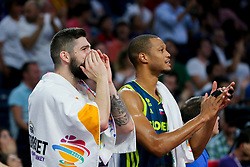 Ziga Dimec of Slovenia and Anthony Randolph of Slovenia during basketball match between National Teams of Slovenia and Spain at Day 15 in Semifinal of the FIBA EuroBasket 2017 at Sinan Erdem Dome in Istanbul, Turkey on September 14, 2017. Photo by Vid Ponikvar / Sportida