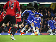 Chelsea striker Diego Costa in an early attack during the Barclays Premier League match between Chelsea and West Bromwich Albion at Stamford Bridge, London, England on 13 January 2016. Photo by Matthew Redman.