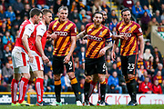 Bradford City players line up for a corner during the EFL Sky Bet League 1 play off first leg match between Bradford City and Fleetwood Town at the Coral Windows Stadium, Bradford, England on 4 May 2017. Photo by Simon Davies.