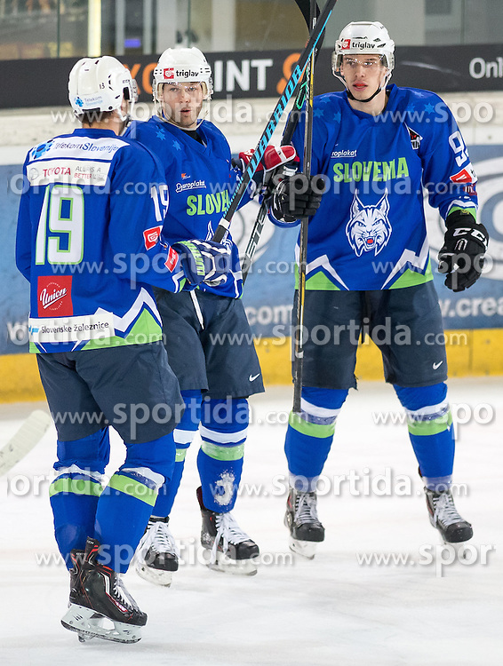 11.02.2016, Olympiaworld, Innsbruck, AUT, Euro Ice Hockey Challenge, Österreich vs Slowenien, im Bild Torjubel Slowenien nachdem Tor zum 6:1 durch Nik Pem (SLO) // Slowenia celebrating after Nik Pem of Slowenia scored a goal during the Euro Icehockey Challenge Match between Austria and Slovenia at the Olympiaworld in Innsbruck, Austria on 2016/02/11. EXPA Pictures © 2016, PhotoCredit: EXPA/ Jakob Gruber