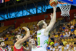 Jaka Blazic of Slovenia during friendly match between National teams of Slovenia and Turkey for Eurobasket 2013 on August 4, 2013 in Arena Zlatorog, Celje, Slovenia. (Photo by Vid Ponikvar / Sportida.com)