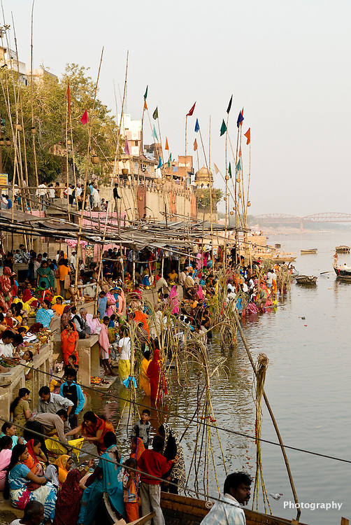 Pilgrims at the ghats during the festival of Kartik Poornima in Varanasi, Uttar Pradesh, India