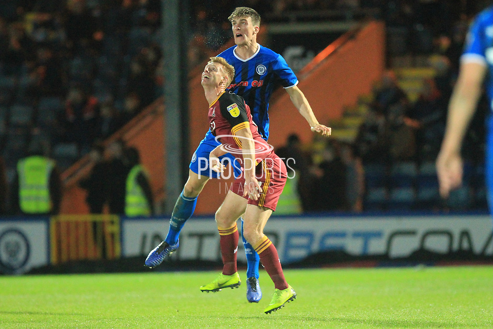 Ryan Delaney wins a header during the EFL Sky Bet League 1 match between Rochdale and Bradford City at Spotland, Rochdale, England on 29 December 2018.