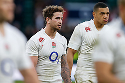 England replacement Danny Cipriani looks on after the match in which he scored a try with his first touch - Photo mandatory by-line: Rogan Thomson/JMP - 07966 386802 - 14/02/2015 - SPORT - RUGBY UNION - London, England - Twickenham Stadium - England v Italy - 2015 RBS Six Nations Championship.