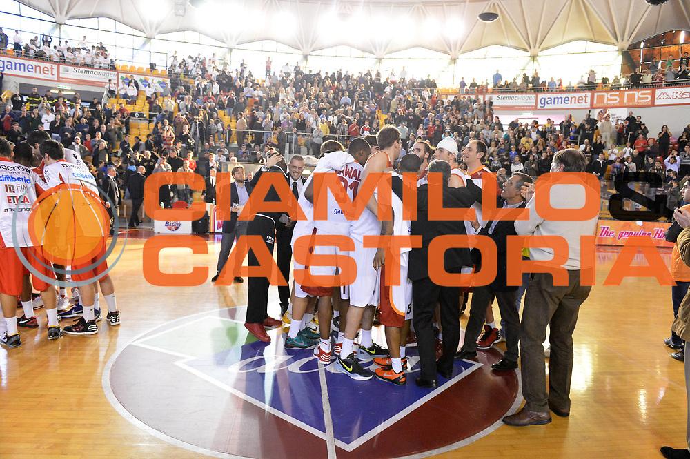 DESCRIZIONE : Roma Lega A 2012-13 Acea Virtus Roma Cimberio Varese<br /> GIOCATORE : team <br /> CATEGORIA : esultanza <br /> SQUADRA : Acea Virtus Roma<br /> EVENTO : Campionato Lega A 2012-2013 <br /> GARA : Acea Virtus Roma Cimberio Varese<br /> DATA : 02/12/2012<br /> SPORT : Pallacanestro <br /> AUTORE : Agenzia Ciamillo-Castoria/GiulioCiamillo<br /> Galleria : Lega Basket A 2012-2013  <br /> Fotonotizia : Roma Lega A 2012-13 Acea Virtus Roma Cimberio Varese<br /> Predefinita :