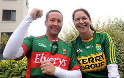 Mayo Husband Adrian Moore and Kerry wife Dawn McNamara from Lisselton Kerry at All Ireland Semi Final against Kerry at Croke Park.<br /> Pic Conor McKeown