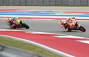 Spain's Marc Marquez (93) and Spain's Alvaro Bautista (19) during qualifying in the 2016 Grand Prix of the Americas MotoGP race at circuit of the Americas, in Austin, Texas on April 9, 2016.