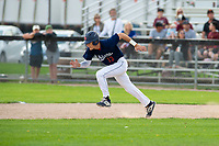 KELOWNA, BC - JULY 16: Cole Cummings #13 of the Kelowna Falcons runs for second base against the the Wenatchee Applesox  at Elks Stadium on July 16, 2019 in Kelowna, Canada. (Photo by Marissa Baecker/Shoot the Breeze)