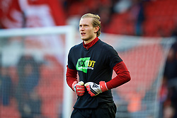 LIVERPOOL, ENGLAND - Saturday, February 24, 2018: Liverpool's goalkeeper Loris Karius, wearing a Kick It Out anti-racism t-shirt, during the pre-match warm-up before the FA Premier League match between Liverpool FC and West Ham United FC at Anfield. (Pic by David Rawcliffe/Propaganda)