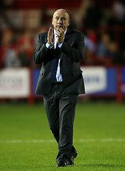 Accrington Stanley manager John Coleman thanks the fans at full time - Mandatory by-line: Matt McNulty/JMP - 22/08/2017 - FOOTBALL - Wham Stadium - Accrington, England - Accrington Stanley v West Bromwich Albion - Carabao Cup - Second Round