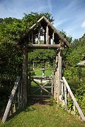 Garden gate, Weir Farm National Historic Site, former home of painter J. Alden Weir, Branchville, Connecticut.