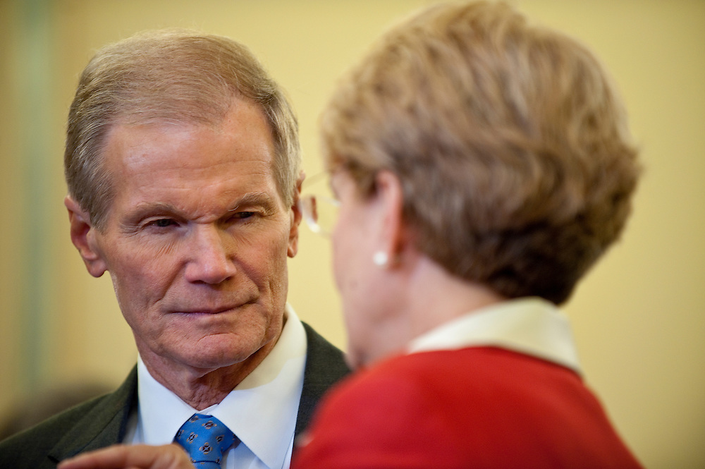 May 18,2010 - Washington, District of Columbia USA - Senator Bill Nelson speaks with Jane Lubchenco, administrator of the National Oceanic and Atmospheric Administration before a hearing in front of the  Senate Commerce, Science and Transportation Committee on the response to the accident involving the Deepwater Horizon in the Gulf of Mexico.(Credit Image: © Pete Marovich/ZUMA Press)