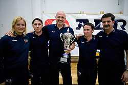 Doctor Eva Topole, physiotherapist Marko Sercer, Coaches of ACH Glenn Hoag and Tilen Kozamernik and Mitja Torkar  with a Trophy after the final match of Slovenian National Volleyball Championships between ACH Volley Bled and Salonit Anhovo, on April 24, 2010, in Radovljica, Slovenia. ACH Volley defeated Salonit 3rd time in 3 Rounds and became Slovenian National Champion.  (Photo by Vid Ponikvar / Sportida)