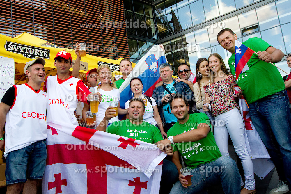 Fans of Slovenia and Georgia prior to the basketball match between National teams of Slovenia and Georgia in Group D of Preliminary Round of Eurobasket Lithuania 2011, on September 3, 2011, in Arena Svyturio, Klaipeda, Lithuania. (Photo by Vid Ponikvar / Sportida)
