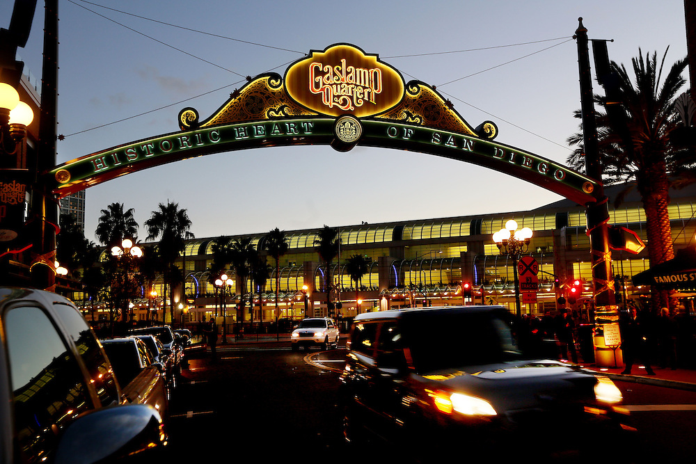 The Gaslamp Quarter sign looking towards the San Diego Convention Center is displayed in Downtown San Diego, California in January 2013.