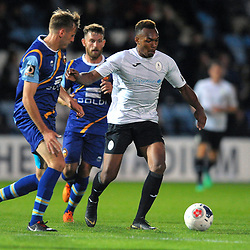 TELFORD COPYRIGHT MIKE SHERIDAN Marcus Dinanga of Telford during the National League North fixture between AFC Telford United and Gloucester City at the New Bucks Head Stadium on Tuesday, September 3, 2019<br /> <br /> Picture credit: Mike Sheridan<br /> <br /> MS201920-015