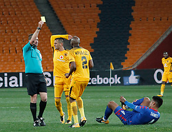 Ramahlwe Mphahlele of Kaizer Chiefs gets a yellow card over a foul, in a match between Kaizer Chiefs and SuperSport United at Fnb Stadium, August 23, Wednesday,