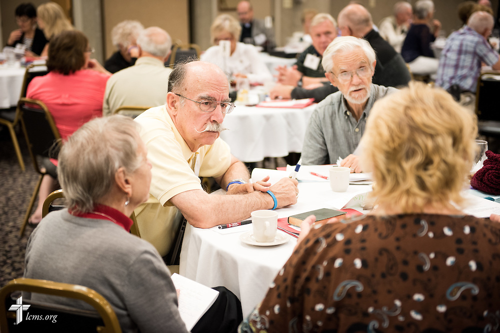 Participants interact in a group exercise at The 72 Witness & Outreach Team Training on Thursday, Sept. 11, 2014, at the National Shrine of Our Lady of the Snows in Belleville, Ill. LCMS Communications/Erik M. Lunsford