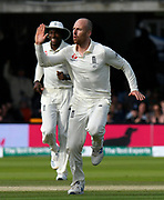 Wicket - Jack Leach of England celebrates taking the wicket of Cameron Bancroft of Australia during the International Test Match 2019 match between England and Australia at Lord's Cricket Ground, St John's Wood, United Kingdom on 18 August 2019.