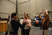 MANHATTAN, NEW YORK, OCTOBER 19, 2016 Alban Lendorf, the newest male principal at ABT, is seen backstage before his debut performance with the company, performing two ballets, Symphonic Variations and The Brahms Haydn Variations, at the Koch Theater in Lincoln Center in Manhattan, NY.  At left is Jeffrey Cirio, Lendorf, and at right is James Whiteside. 10/19/2016 Photo by ©Jennifer S. Altman/For The New York Times
