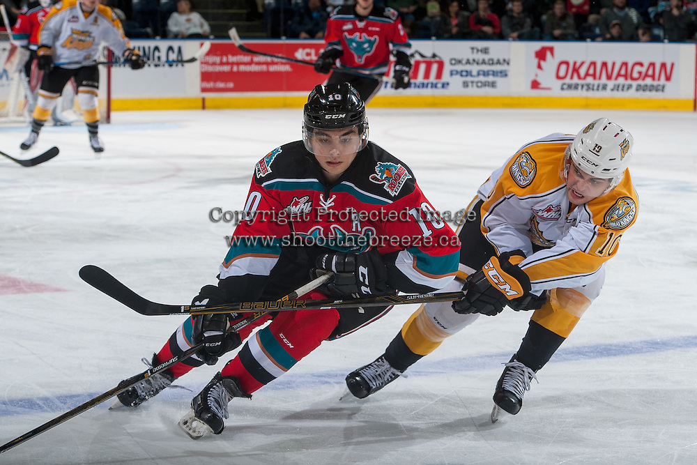 KELOWNA, CANADA - DECEMBER 3: Kale Clague #10 of the Brandon Wheat Kings stick checks Nick Merkley #10 of the Kelowna Rockets on December 3, 2016 at Prospera Place in Kelowna, British Columbia, Canada.  (Photo by Marissa Baecker/Shoot the Breeze)  *** Local Caption ***