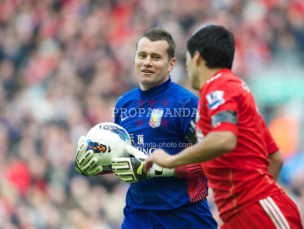 LIVERPOOL, ENGLAND - Saturday, April 7, 2012: Aston Villa'a goalkeeper Shay Given during the Premiership match at Anfield. (Pic by David Rawcliffe/Propaganda)